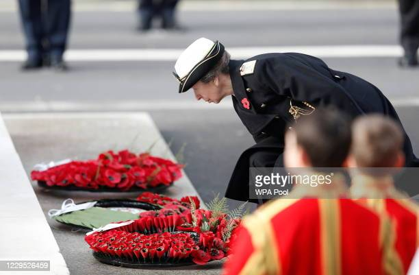 Princess Anne, Princess Royal lays a wreath during the National Service Of Remembrance at the Cenotaph in Westminster, amid the spread of coronavirus...