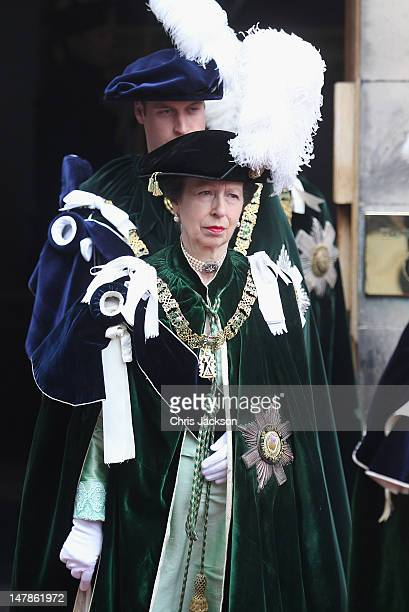 Princess Anne Princess Royal leaves the Signet Library to head to St Giles Cathederal for the Thistle Ceremony on July 5 2012 in Edinburgh Scotland...