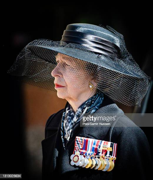 Princess Anne, Princess Royal looks on as the coffin of Prince Philip, Duke of Edinburgh arrives St George's Chapel in a purpose build Land Rover...