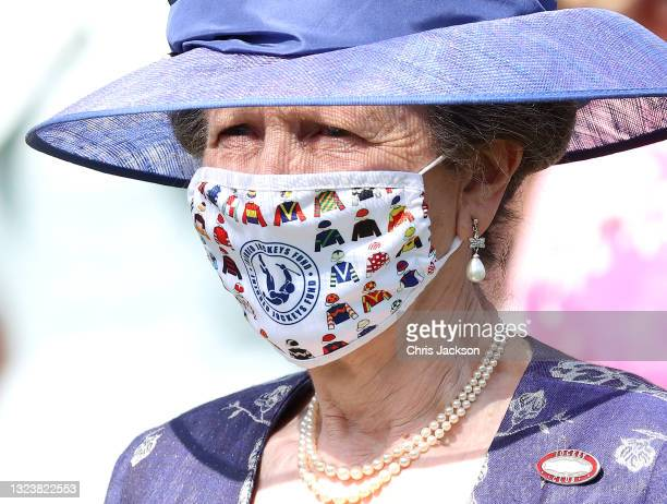Princess Anne, Princess Royal looks on in the parade ring at Royal Ascot 2021 at Ascot Racecourse on June 15, 2021 in Ascot, England.