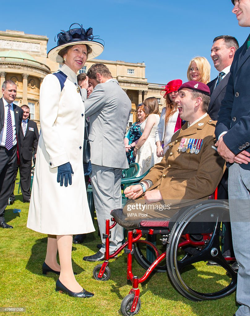 Princess Anne, Princess Royal meets Afghanistan veteran Ben Parkinson at the annual Not Forgotten Association Garden Party at Buckingham Palace on June 11, 2015, in London, United Kingdom