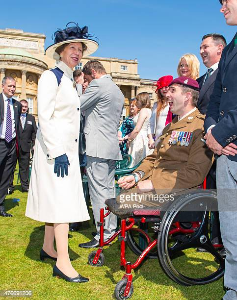 Princess Anne Princess Royal meets Afghanistan veteran Ben Parkinson at the annual Not Forgotten Association Garden Party at Buckingham Palace on...