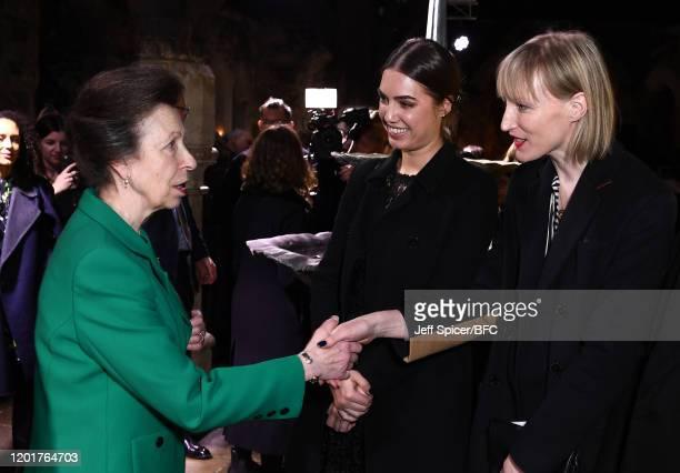Princess Anne, Princess Royal meets Amber Le Bon and Jade Parfitt at The Queen Elizabeth II Award for British Design presentation during London...