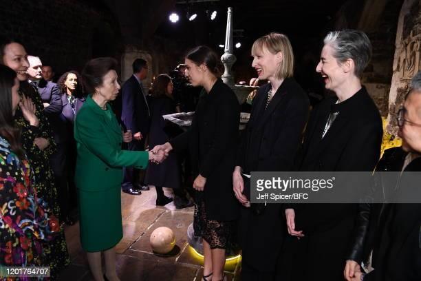 Princess Anne, Princess Royal meets Amber Le Bon, Jade Parfitt and Erin O'Connor at The Queen Elizabeth II Award for British Design presentation...