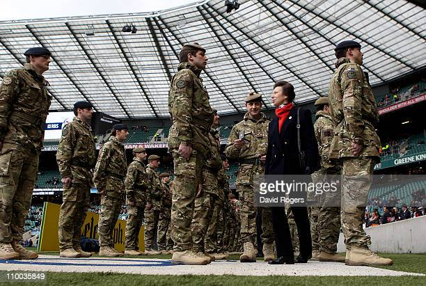 Princess Anne Princess Royal meets Captain Charlie Dalziel ahead of the RBS 6 Nations Championship match between England and Scotland at Twickenham...