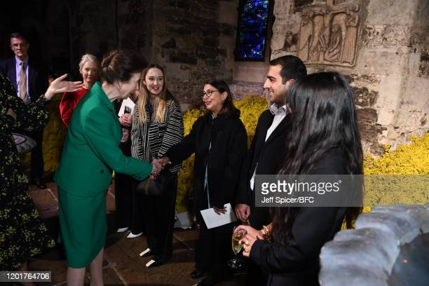 Princess Anne, Princess Royal meets designers at The Queen Elizabeth II Award for British Design presentation during London Fashion Week February...