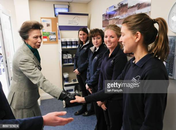 Princess Anne, Princess Royal, meets members of staff during a visit to the Hambleton Equine Clinic on October 10, 2017 in Stokesley, England. The...