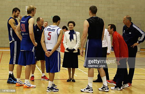 Princess Anne, Princess Royal meets members of the GB Basketball team during the Team GB kitting out event ahead of the London 2012 Olympic Games at...
