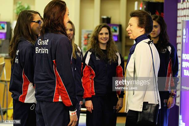 Princess Anne Princess Royal meets members of the Gymnastics team during the Team GB kitting out event ahead of the London 2012 Olympic Games at...
