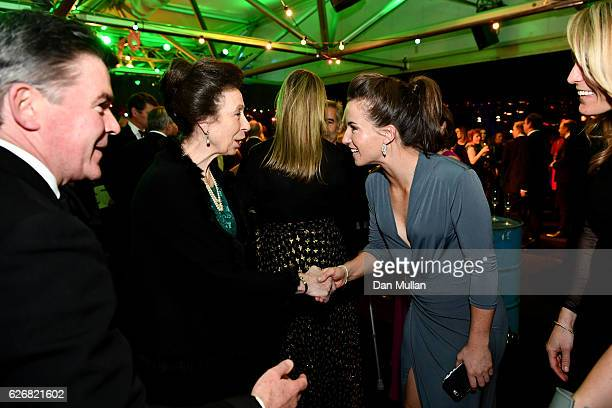Princess Anne Princess Royal meets with Team GB hockey players as she attends the Team GB Ball at Battersea Evolution on November 30 2016 in London...