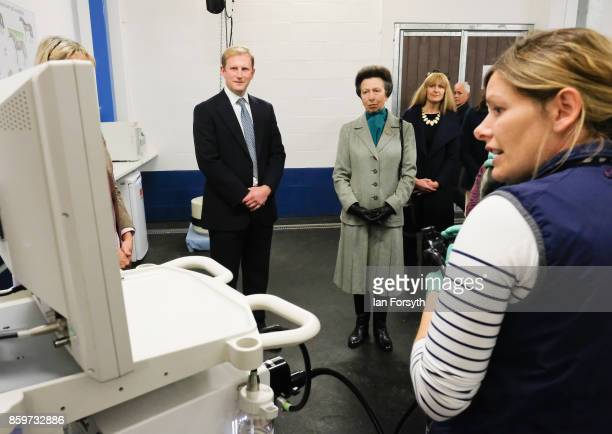 Princess Anne, Princess Royal, observes a horse gastroscopy taking place as she visits the Hambleton Equine Clinic on October 10, 2017 in Stokesley,...
