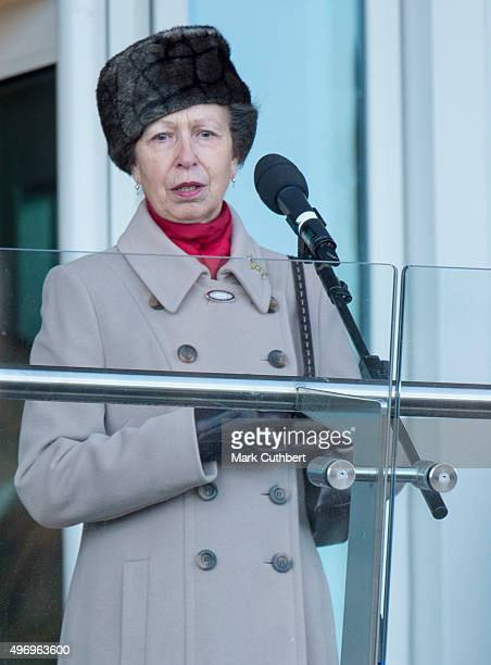 Princess Anne Princess Royal opens the the new stand named after her as part of the £45m redevelopment at Cheltenham Racecourse on November 13 2015...