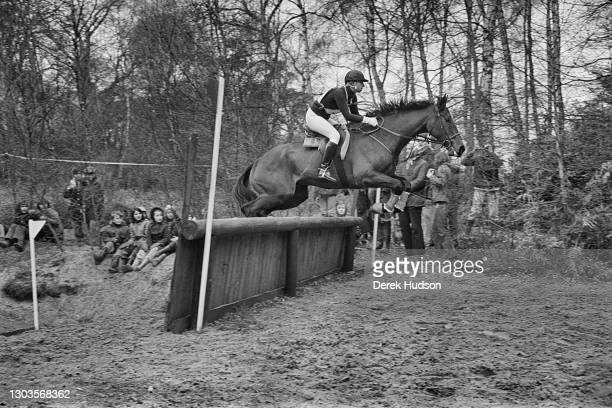 Circa 1975: Princess Anne, Princess Royal pictured in various situations during the eventing stage of the Badminton Horse Trials in which riders are...