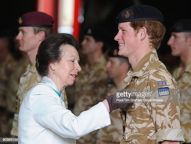 Princess Anne, Princess Royal presents Afghanistan war campaign medals to officers and soldiers of the Household Cavalry Regiment, including...