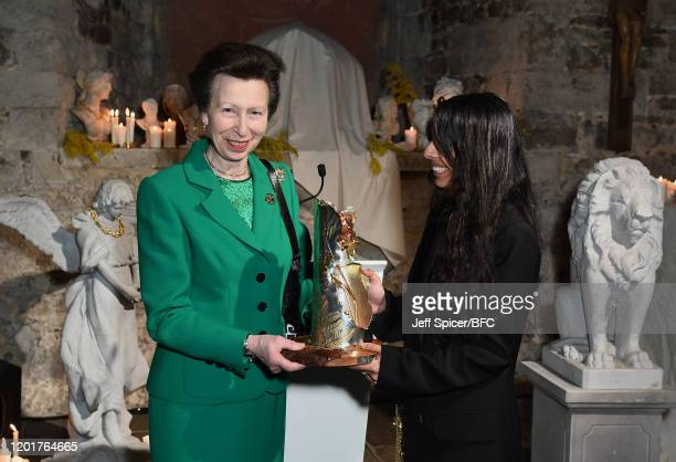 Princess Anne, Princess Royal presents Rosh Mahtani for Alighieri jewellery line with The Queen Elizabeth II Award for British Design during London...