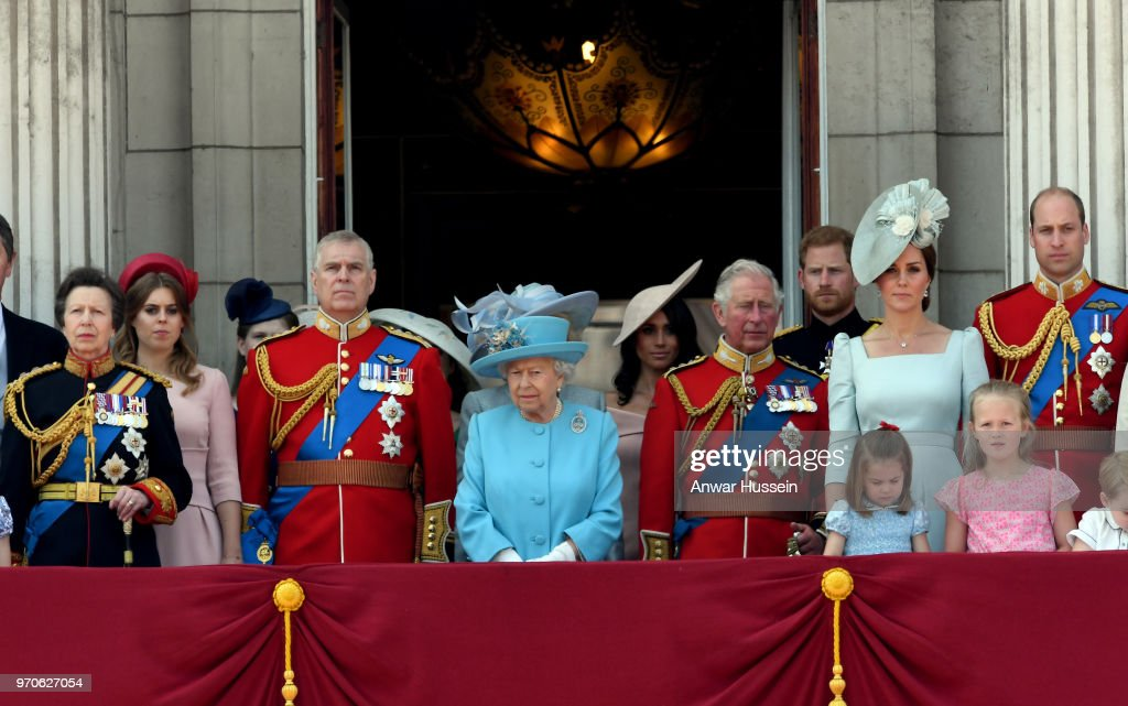 Princess Anne, Princess Royal, Princess Beatrice, Prince Andrew, Duke of York, Queen Elizabeth II, Meghan, Duchess of Sussex, Prince Charles, Prince of Wales, Prince Harry, Duke of Sussex, Catherine, Duchess of Cambridge, Prince William, Duke of Cambridge, Princess Charlotte of Cambridge, Savannah Phillips and Prince George of Cambridge on the balcony of Buckingham Palace during Trooping the Colour on June 09, 2018 in London, England.