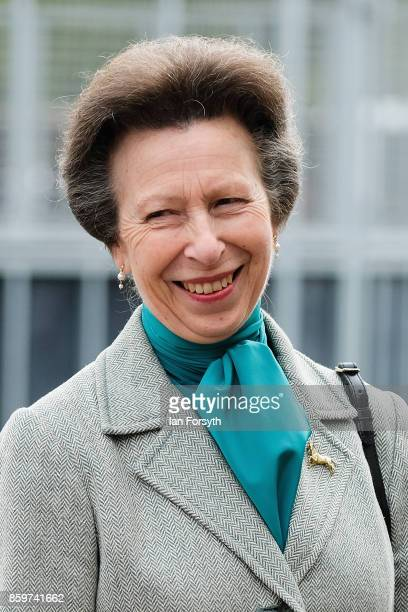 Princess Anne Princess Royal reacts as she meets Olympic Three Day Eventing Silver medallist Team Gold and European Bronze Medallist and current...