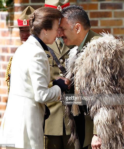 Princess Anne Princess Royal receives a Hongi from Sgt Isaac Davis during a visit to the Royal New Zealand Corps of Signals and Royal New Zealand...