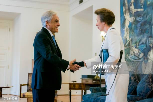 Princess Anne Princess Royal shakes hands with President of Chile Sebastián Piñera during an audience by the President of Chile Sebastián Piñera at...