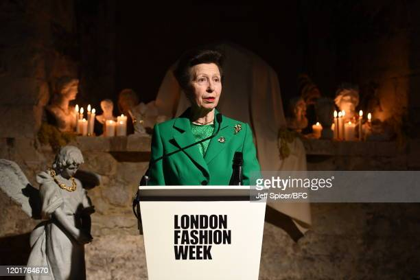 Princess Anne, Princess Royal speaks at The Queen Elizabeth II Award for British Design presentation during London Fashion Week February 2020 on...