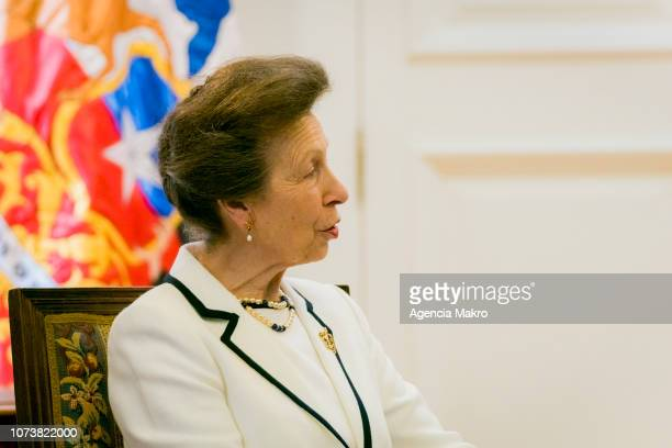 Princess Anne Princess Royal speaks during an audience with President of Chile Sebastián Piñera at the Palacio de La Moneda on November 28 2018 in...