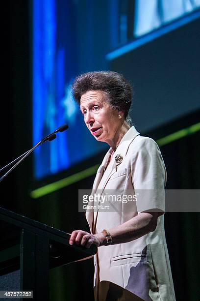 Princess Anne Princess Royal speaks to the audience at the 26th Commonwealth Agricultural Conference at the Royal International Convention Centre on...