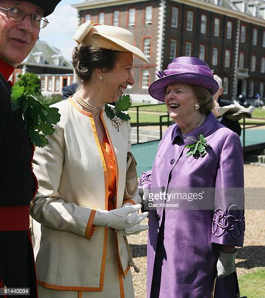 Princess Anne, Princess Royal speaks with Lady Thatcher at 'Founders Day Parade' at Chelsea Royal Hospital, on June 5, 2008 in London, England. The...