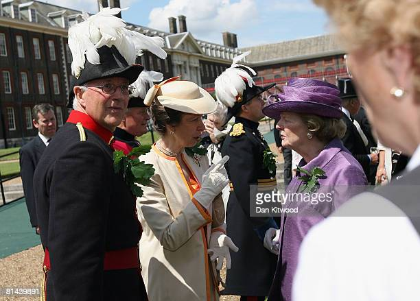 Princess Anne, Princess Royal speaks with Lady Thatcher at the 'Founders Day Parade' at Chelsea Royal Hospital on June 5, 2008 in London, England....