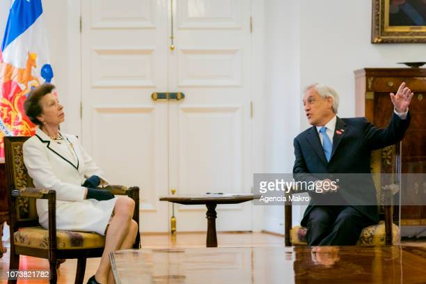 Princess Anne Princess Royal speaks with President of Chile Sebastián Piñera during an audience at the Palacio de La Moneda on November 28 2018 in...