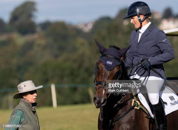 Princess Anne Princess Royal talking to Zara Tindall on Gladstone at The Gatcombe Horse Trials at Gatcombe Park on September 15 2019 in Stroud England