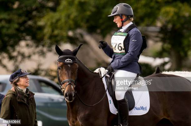 Princess Anne Princess Royal talking to Zara Tindall riding Gladstone at the Whatley Manor Horse Trials at Gatcombe Park on September 9 2017 in...