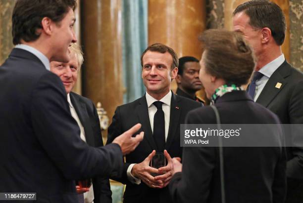 Princess Anne, Princess Royal talks to Canadian Prime Minister Justin Trudeau, Prime Minister Boris Johnson, French President Emmanuel Macron and...