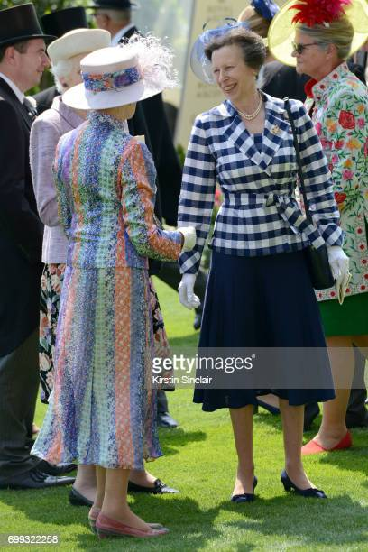 Princess Anne Princess Royal talks to Princess Alexandra The Hon Lady Ogilvy in the Parade Ring on day 2 of Royal Ascot at Ascot Racecourse on June...