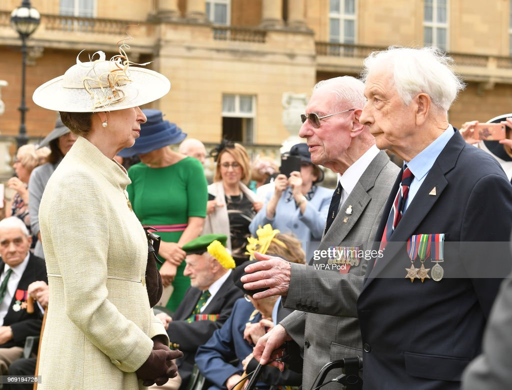 Princess Anne, Princess Royal talks to veteran ex-servicemen during the Not Forgotten Association Annual Garden Party at Buckingham Palace on June 7, 2018 in London, England. The Not Forgotten Association is a national tri-service charity which provides entertainment, leisure and recreation for the serving wounded, injured or sick and for ex-service men and women with disabilities. Photo by John Stillwell - WPA Pool/Getty Images)