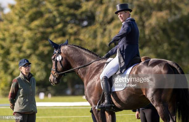 Princess Anne Princess Royal talks to Zara Tindall after the Dressage at The Gatcombe Horse Trials at Gatcombe Park on September 13 2019 in Stroud...