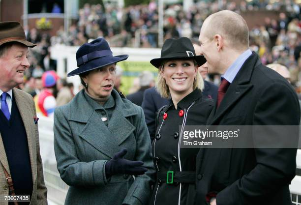 Princess Anne, Princess Royal talks with her daughter Zara Phillips, Andrew Parker-Bowles and Zara's boyfriend Mike Tindall on the final day of...