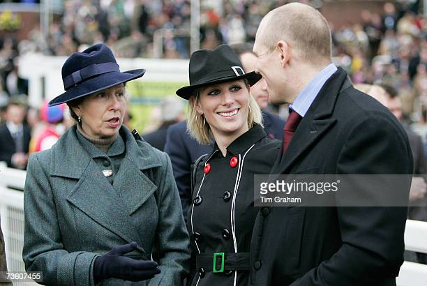 Princess Anne, Princess Royal talks with her daughter Zara Phillips and Zara's boyfriend Mike Tindall on the final day of Cheltenham Festival on...