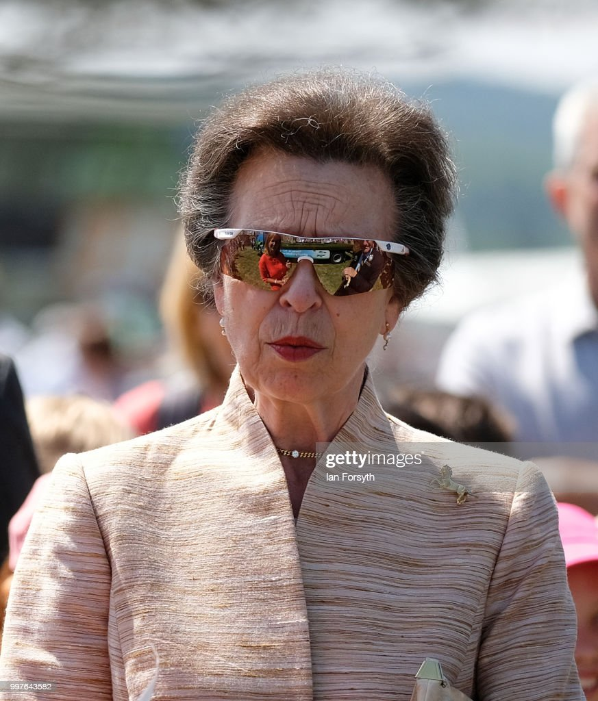 HRH Princess Anne, Princess Royal tours the Showground as she visits during the second day of the 160th Great Yorkshire Show on July 11, 2018 in Harrogate, England. First held in 1838 the show brings together agricultural displays, livestock events, farming demonstrations, food, dairy and produce stands as well as equestrian events. The popular agricultural show is held over three days and celebrates the farming and agricultural community and their way of life.