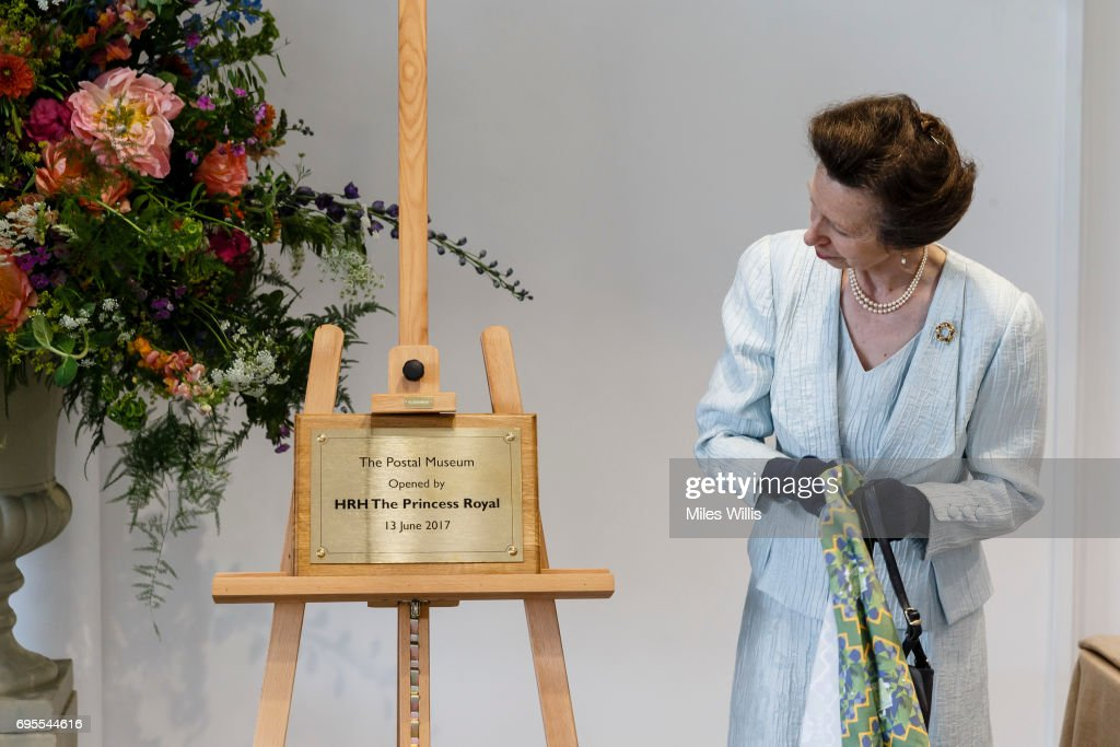 Princess Anne, Princess Royal unveils a commemorative plaque during her visit to The Postal Museum and Mail Rail for its ceremonial opening on June 13 in London, England. The Postal Museum and Mail Rail will open to the public on July 28, 2017. The Princess Royal explored the quirky history of the most royal of British institutions, the Royal Mail, and discovered the origins of the world's earliest social network; the post.