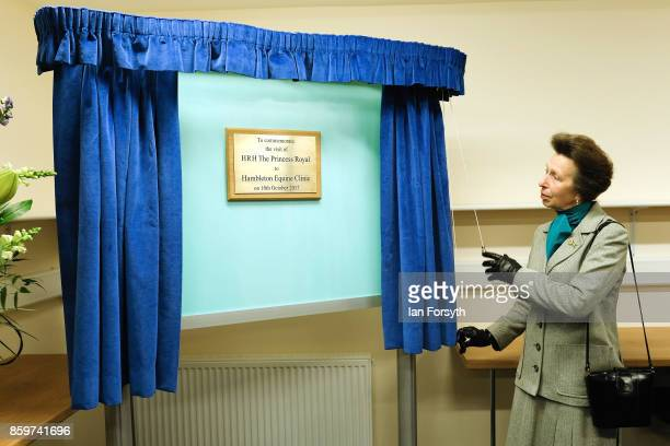 Princess Anne, Princess Royal, unveils a plaque as she visits the Hambleton Equine Clinic on October 10, 2017 in Stokesley, England. The facility is...