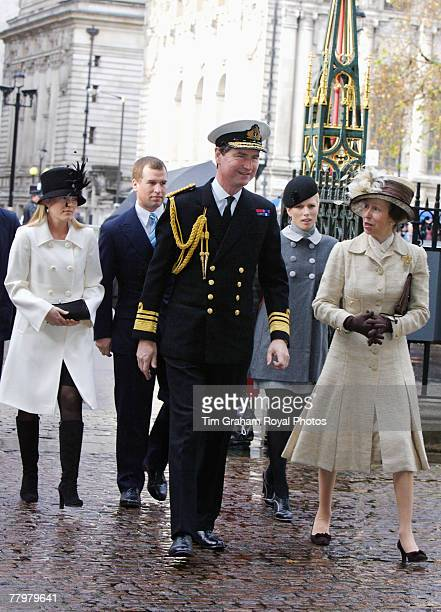 Princess Anne Princess Royal Vice Admiral Timothy Laurence Zara Phillips Peter Phillips and his fiance Autumn Kelly attend a service of thanksgiving...