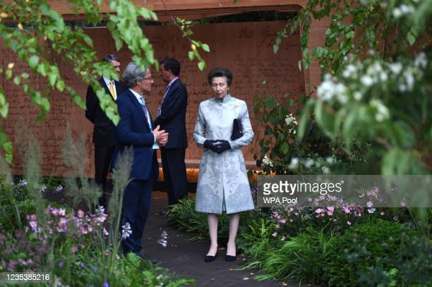 Princess Anne, Princess Royal visits The Florence Nightingale Garden during a visit to the Autumn RHS Chelsea Flower Show on September 20, 2021 in...