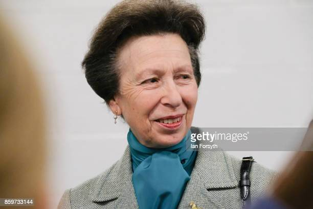 Princess Anne, Princess Royal, visits the Hambleton Equine Clinic on October 10, 2017 in Stokesley, England. The facility is the only purpose built...