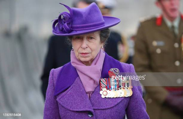 Princess Anne, Princess Royal walks past the Australian War Memorial during a dawn service to commemorate Anzac Day at Wellington Arch on April 25,...