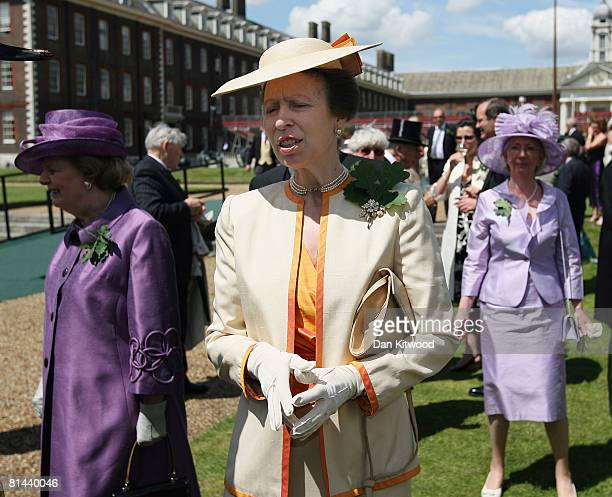 Princess Anne, Princess Royal walks with Lady Thatcher at 'Founders Day Parade' at Chelsea Royal Hospital, on June 5, 2008 in London, England.