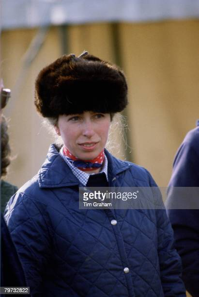 Princess Anne Princess Royal watches her husband compete in a two day event at Shelswell in Oxfordshire