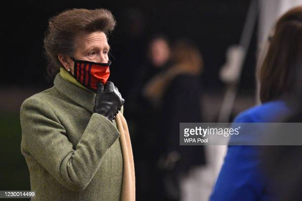 Princess Anne, Princess Royal, wearing a protective face covering to combat the spread of the coronavirus, attends an event to thank local volunteers...