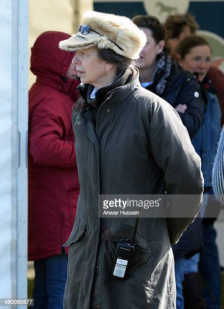 Princess Anne Princess Royal wearing a warm fur hat looks around stalls during the Gatcombe Horse Trials at Gatcombe Park on March 22 2014 in...