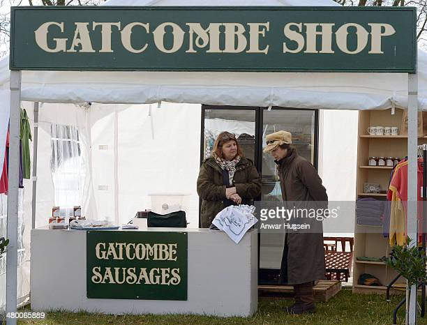 Princess Anne Princess Royal wearing a warm fur hat looks around the Gatcombe Shop stall during the Gatcombe Horse Trials at Gatcombe Park on March...