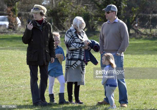 Princess Anne, Princess Royal with her son Peter Phillips and granddaughters Savannah Phillips and Mia Tindall during the Gatcombe Horse Trials at...